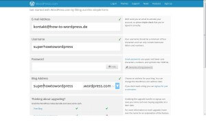 Anmeldeformular WordPress