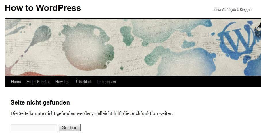 404 Fehlerseite von How-to-WordPress.de