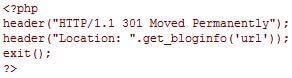 Codezeile zum Erstellen einer automatischen Umleitung