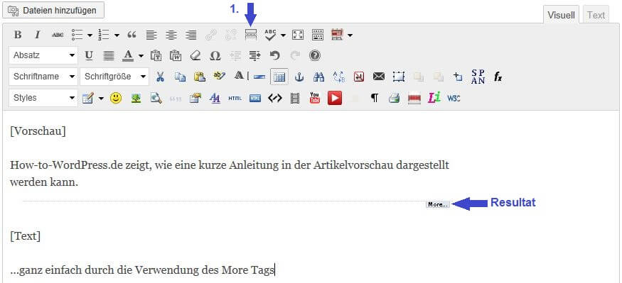 WordPress More Tag Artikelvorschau