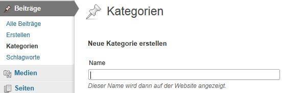 WordPress Artikel Seiten: Kategorie erstellen