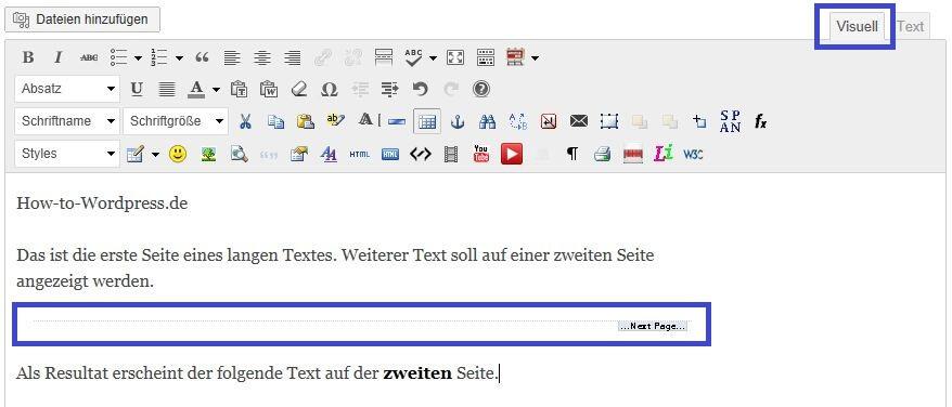 WordPress Artikel mehrere Seiten aufteilen: WordPress Seitenumbruch