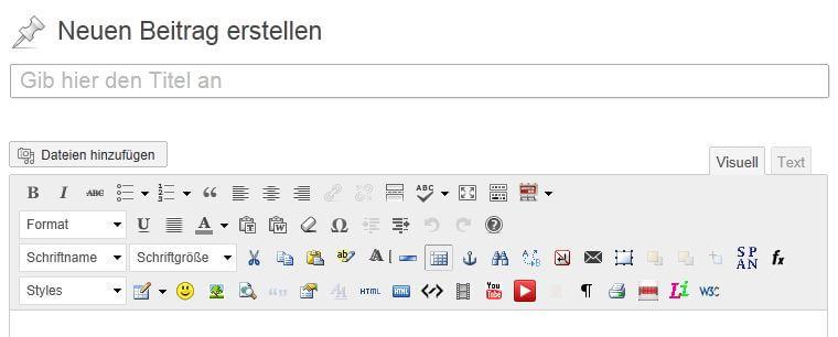 WordPress Editor nachher: visuelle Ansicht wieder vorhanden