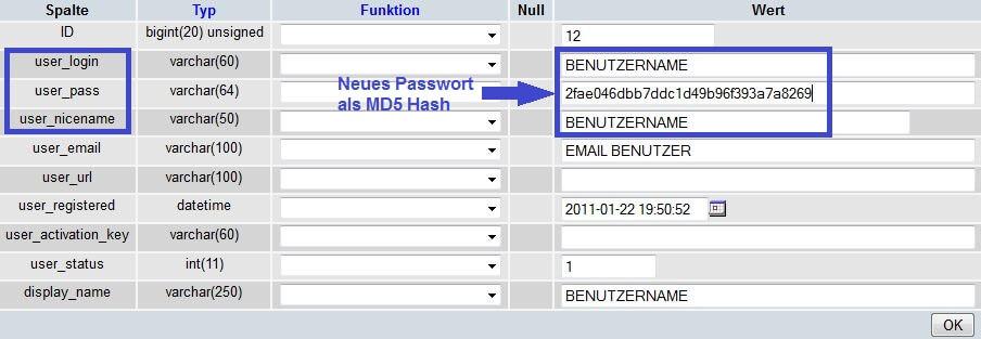 wordpress passwort vergessen: phpMyAdmin: wp_users bearbeiten
