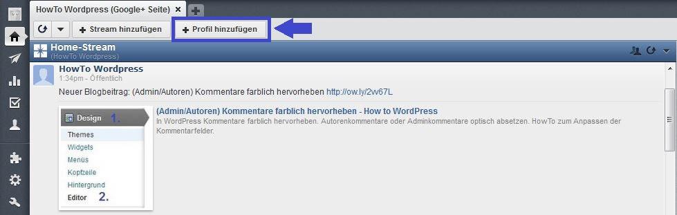 Hootsuite: Profil hinzufügen