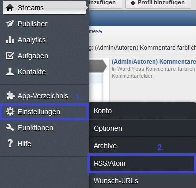 Hootsuite: Einstellungen -> RSS/Atom