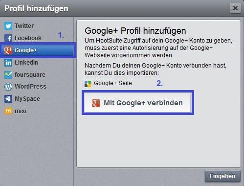Hootsuite: Google Plus