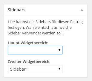 Custom Sidbars - Sidebar in Beiträge oder Seiten einfügen