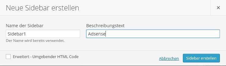 Custom Sidebars Neue Sidebar erstellen