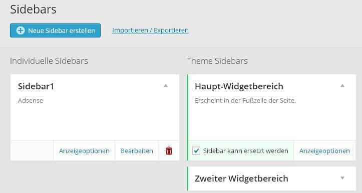 Custom Sidebars - Meine neue Sidebar