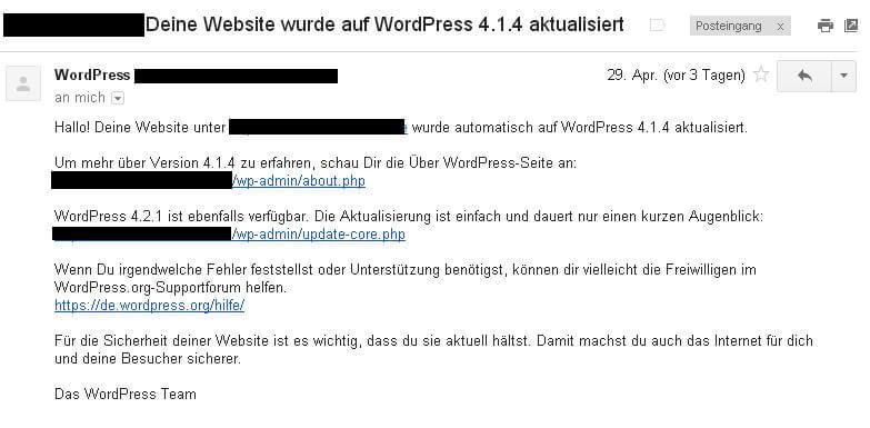 Automatisches WordPress Update Email