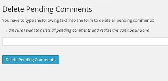 Delete Pending Comments Einstellungen