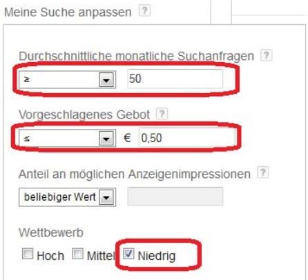 Google Keyword Tool Filter