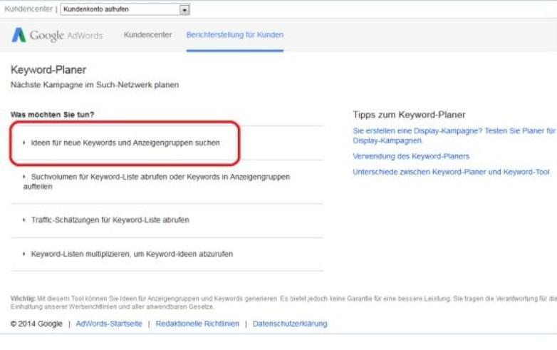 Google Keyword-Tool Start