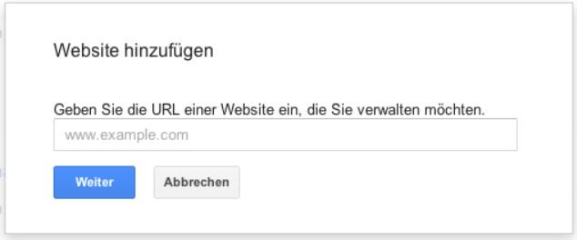 Google Webmaster Tools Website hinzufügen