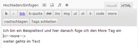 More Tag in der Html Ansicht