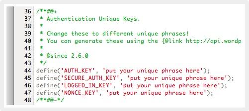 Wordpress Authentication Unique Keys